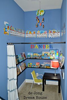 love the curtain rod idea!  So doing this in the kitchen area of the playroom!  =)
