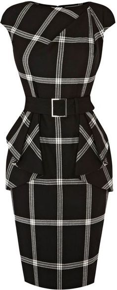 Black&White Multicolor Plaid Print Karen Millen Dress Gorgeous
