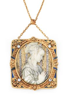 """An Art-Nouveau pendant with ivory engraving of the """"Madonna"""" afte Filippo Lippi  C. 1900. Frame 18 ct. yellow gold. Ivory carving after the painting """"Madonna with Jesus and two angels"""" of the 15th cent. by Filippo Lippi (Uffizien) as an application on the gilded silver ground. Ornaments of 43 small rose cut diam. and small old cut diam., in the corners blue enamel, on the sides 11 small, faceted cut sapphires (1 x dam, 1 x add. in enamel. Pendant 5,5 x 5 cm, necklace 14 ct. yellow gold l. 60…"""