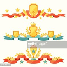 504268237-decor-with-ribbons-and-awards-in-flat-design-gettyimages.jpg (414×414)