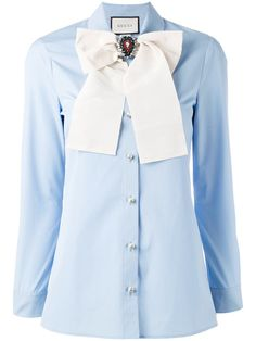 cae5e5efc Shop Gucci removable brooch shirt. Light Blue Top, Light Blue Shirts, Blue  Oxford
