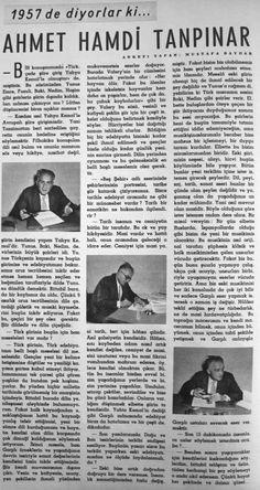 OĞUZ TOPOĞLU : ahmet hamdi tanpınar 1957 hayat dergisi
