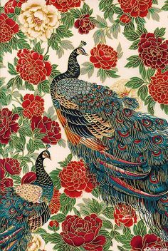 KAONTMCI Oriental Traditions 10 - Imperial Peacocks - Cinnamon/Gold US $10.75 gold metallic highlights, this large scale design will make a stunning centerpiece in a special project. Larger peacocks are about 17, with gold metallic, from the Oriental Traditions 10 collection by Robert Kaufman Fabrics. Because of the large repeat, please order a minimum of 1 1/4 yards to guarantee receiving a full repeat of the pattern.: