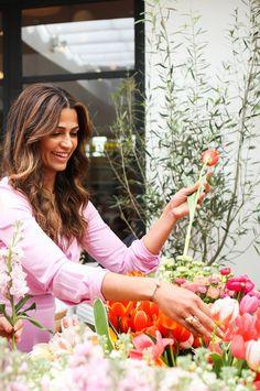 Camila Alves prepping for a spring brunch