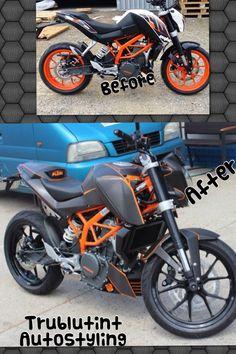 Avery Brushed Black - Carbon Fibre Black and Gloss Orange KTM Duke full vinyl wrap Ktm Duke 200, Duke Bike, Ktm 125, Retro Motorcycle, Bike Life, Custom Bikes, Motorbikes, Bobbers, Cars