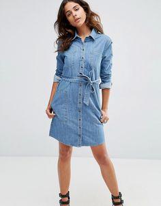ASOS+Denim+Belted+Shirt+Dress+in+Anouki+Mid+Stonewash+Blue