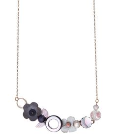 Look at this #zulilyfind! Charcoal Floral Chain Link Necklace by Elements Jill Schwartz #zulilyfinds