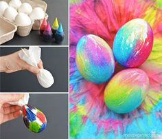 These tie dye Easter eggs are SO FUN and they're so simple to make! The colours are bright and beautiful and the eggs are completely safe to eat! #EasterEggs