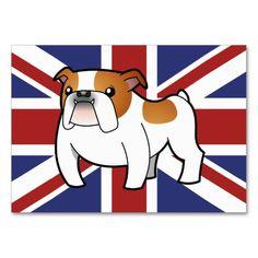 Patriotic Bulldog (red piebald) Business Card Templates