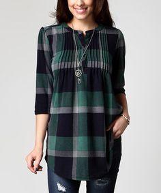 Look at this #zulilyfind! Green Plaid Notch Neck Pin Tuck Tunic - Plus #zulilyfinds
