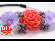 DIY.Kanzashi flower tutorial.Composition of flowers. The headband.flower...