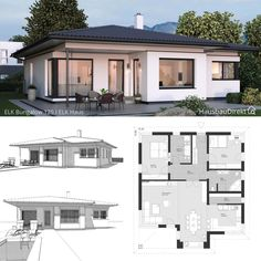 Small House Floor Plans, Simple House Plans, Cottage House Plans, Dream House Plans, Bungalow Haus Design, Modern Bungalow House, Best Modern House Design, Small House Design, House Layout Plans