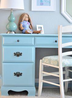aqua desk in girls room - she uses the lavendar/aqua blue combo with grey walls