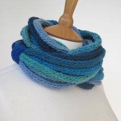 Infinity Scarf  Sea Glass Blues 100% Lambswool lagenlook Chunky Cowl Hand knitted Multi layer For Her Loop Necklace Aqua Ready to ship. £22.95, via Etsy.