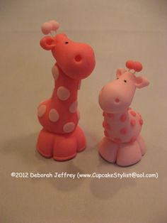 "Set of 2 Fondant ""Party City"" Pink Safari Baby Shower Giraffe Cake via Etsy."