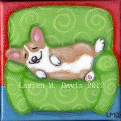 Pembroke Welsh Corgi Dog 3x3 inch MINI Canvas ORIGINAL Folk Painting LAUREN M Davis ART