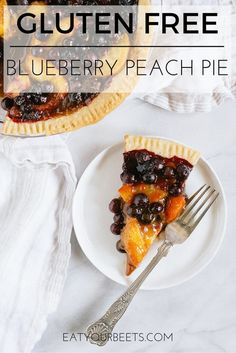 Gluten Free Blueberry Peach Pie! Perfect dessert for summer fruit. Make this gluten free cassava flour pie crust with a vegan or paleo option!