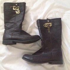 Michael Kors Brown Boots Authentic(see pictures). Brown all the way through. Zipper enclosed. Comes up halfway on calf. I'm a size 6 & it fits slightly small Michael Kors Shoes