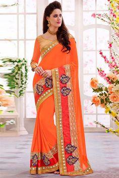 Orange Georgette Festive Wear Designer #Saree $-76