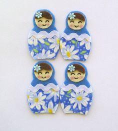 Blue felt and fabric Babushka dolls floral by Cardscorner on Etsy, $4.35