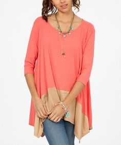 Look at this Peach Love CA Coral & Gold Colorblock Tunic on #zulily today!