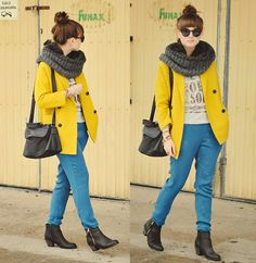 Colorful Wednesday.  (by Maddy C) http://lookbook.nu/look/4579891-Reserved-Pants-Blink-Boots-Coat-Colorful-Wednesday