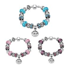 Luxury Classic Crystal Silver Plated LOVE Charm Bracelet For Women. Starting at $1