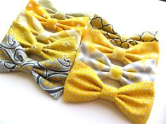 Men's Bow Ties Yellow Mix and Match 100% by TangledTiesBowTies