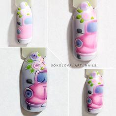 Summer Nail Designs - My Cool Nail Designs Yellow Nail Art, Floral Nail Art, Cute Nail Art, Cute Nails, Disney Inspired Nails, Romantic Nails, Vintage Nails, Nailart, Manicure E Pedicure