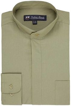 d7aa82995db80 Men s Cotton Blend Banded Collar Dress Shirt- 10+ Colors Available - Olive  - CM12N9Q4VFU
