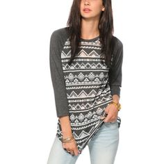Empyre Genee Charcoal Burnout Tribal Raglan Tee