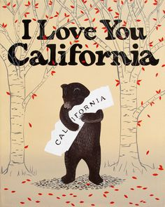 I Love You California Red Leaf Print by Annie Galvin at 3 Fish Studios in San Francisco, California. Printed on-site with 8-color UltraChrome K3™ inks on 300gsm Hot Press Bright paper. Archival, highest possible quality.