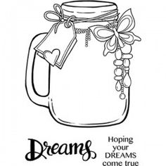 Woodware Clear Singles - Jar of Dreams Free To Use Images, Bubble Art, Penny Black, Clear Stamps, High Quality Images, Coloring Pages, Clip Art, Jar, Dreams