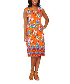 Love this Paprika Tropical V-Neck Dress - Plus Too by Isaac Mizrahi Live! on #zulily! #zulilyfinds