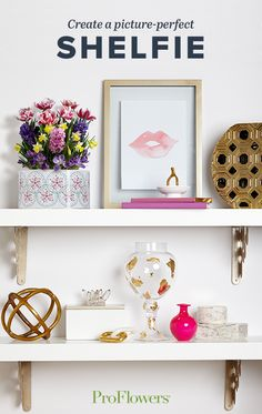 Make your shelves a museum of all your favorite artwork and trinkets.