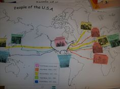 Immigration map...great way to start talking about immigration when we do the Heritage Project!