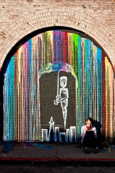 Street art is a wonderful way to express your creativity. Arguably the most well known street artist is Banksy. Here are 50 must see examples of street art. Amazing Street Art, Best Street Art, Amazing Art, Graffiti Kunst, Graffiti Artwork, Banksy Graffiti, Graffiti Painting, Stencil Graffiti, Rain Painting
