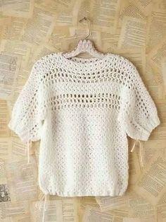 Crochet Patterns Jumper Crochet feminine and beautiful summer pullover. Free patterns for crochet pullov. Moda Crochet, Pull Crochet, Crochet Jumper, Crochet Jacket, Crochet Cardigan, Crochet Stitches, Free Crochet, Knit Crochet, Crochet Patterns