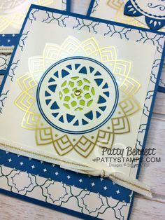 Eastern Palace Medallion card idea with gold foil sticker - new from Stampin Up!  Cards by Patty Bennett