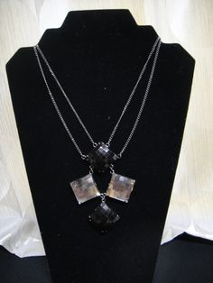 """Dark silver double chain necklace with black and silver stones.  11"""" in length"""