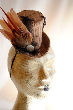 Autumn Forest  Steampunk Mini Top Hat with Pheasant Feathers