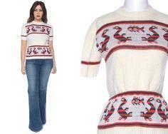 70s Sweater Cream GEESE FISH Short Sleeve by GravelGhostVintage