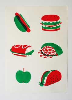 Bastien Contraire food illustration. Apple, taco, pita, sandwich, hamburger, hot dog.