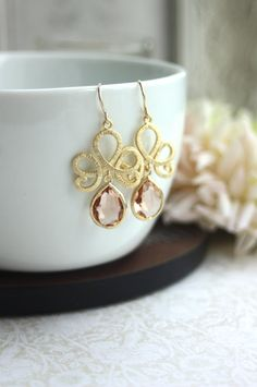 Matte Gold Plated Filigree Scroll Peach Glass Pear Gold Drop Dangle Earrings. Venetian Italian Inspired. Bridesmaid Gift. Peach Wedding. via Etsy