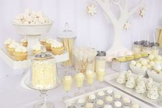 White Christmas Party Dessert Table