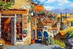 Colors of Tuscany - Jigsaw Puzzle By Castorland Thomas Kinkade Puzzles, Puzzle Mat, Electronic Shop, Cartoon Sketches, Gif Pictures, Jigsaw Puzzles, Illustration Art, Fine Art, Painting