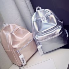 [Visit to Buy] Ladies Leather Silver Backpack Women Bag Glossy Solid 2017 New Backpacks for Teenage Girls Escolar Mochila Masculina Fashion Hot Cute Backpacks, School Backpacks, Leather Backpacks, Silver Backpacks, Unique Backpacks, Leather Bags, Backpack Purse, Mini Backpack, Travel Backpack