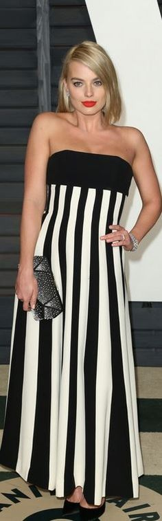 Who made Margot Robbie's black stripe strapless gown that she wore on February Margot Robbie Style, Actress Margot Robbie, Harley Quinn, Vanity Fair Oscar Party, Red Carpet Looks, Red Carpet Fashion, Black Stripes, Strapless Dress Formal, Formal Dresses