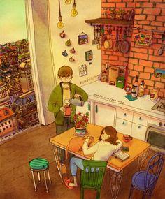 Different tasks, but same room...presence (Art by Grafolio)