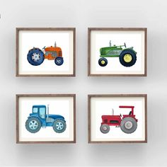 tractor art print for boy nursery or bedroom, digital images instant download, green tractor Bedroom Art, Nursery Wall Art, Transportation Nursery, Mermaid Wall Art, Canvas Ideas, All Print, Digital Image, Tractors, Art For Kids